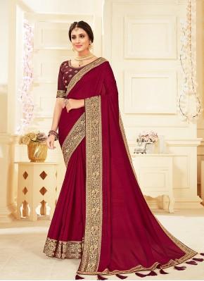 Monumental Vichitra Silk Magenta Classic Designer Saree