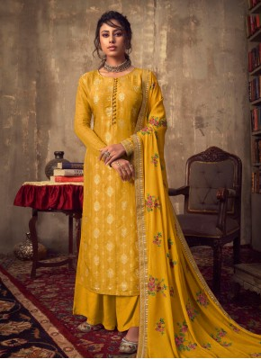 Monumental Zari Yellow Designer Palazzo Suit
