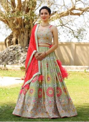 Multi Color Thread Work Chiffon Designer Readymade Lehngha Choli