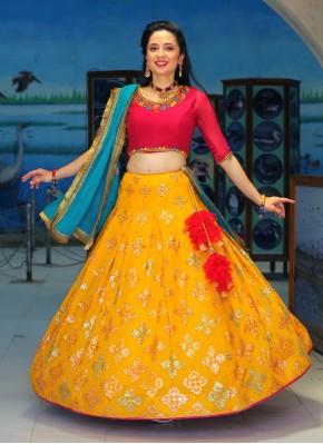 Multi Color Thread Work Chiffon Readymade Chaniya Choli