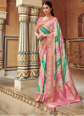 Multi Colored Silk Woven Saree with Pink Pallu and Floral Border