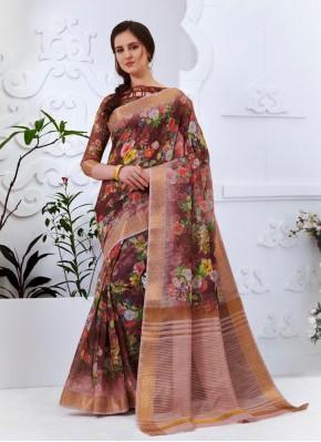 Multi Colour Abstract Print Casual Printed Saree