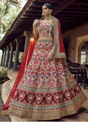 Multi Colour Art Silk Sangeet Lehenga Choli