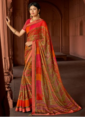Multi Colour Brasso Ceremonial Printed Saree
