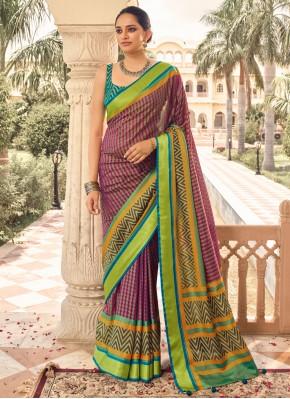 Multi Colour Brasso Print Designer Traditional Saree