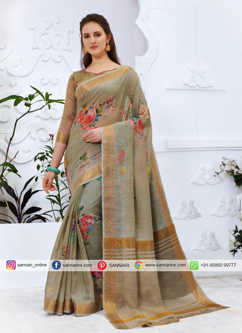 Multi Colour Casual Cotton Silk Printed Saree