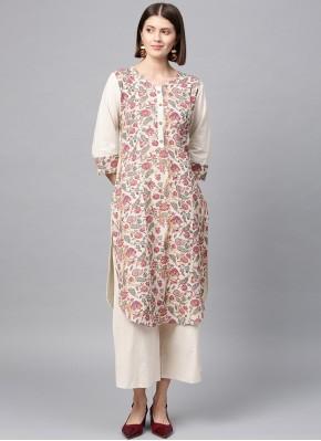 Multi Colour Casual Fancy Fabric Casual Kurti