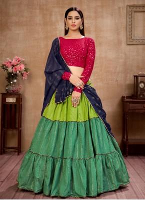 Multi Colour Cotton Engagement Lehenga Choli