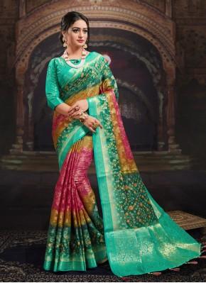 Multi Colour Digital Print Ceremonial Designer Saree