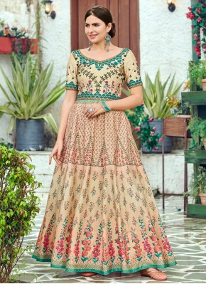 Multi Colour Digital Print Designer Gown