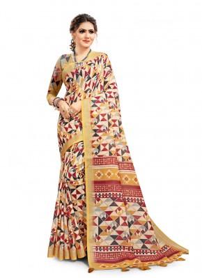Multi Colour Digital Print Linen Printed Saree