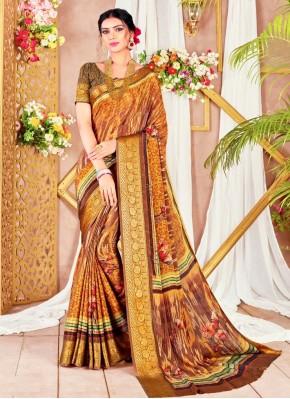 Multi Colour Digital Print Printed Saree