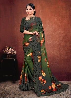 Multi Colour Embroidered Reception Classic Saree