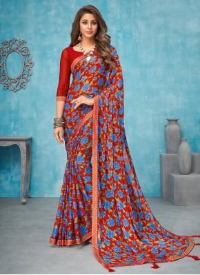 Multi Colour Faux Chiffon Border Contemporary Saree