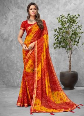Multi Colour Faux Chiffon Casual Printed Saree