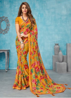 Multi Colour Faux Chiffon Festival Bollywood Saree