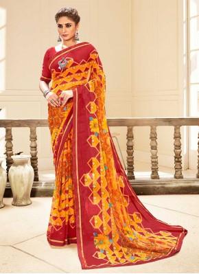Multi Colour Faux Georgette Traditional Saree