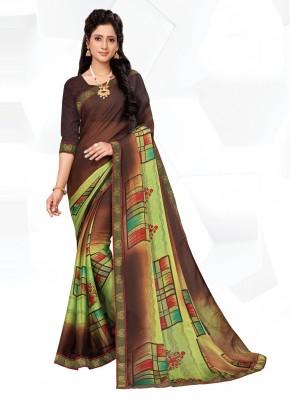 Multi Colour Party Faux Chiffon Printed Saree