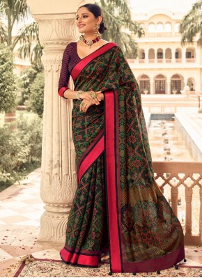 Multi Colour Print Patola Silk  Traditional Designer Saree