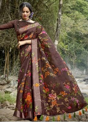 Multi Colour Printed Cotton Printed Saree