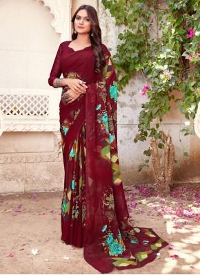 Multi Colour Printed Printed Saree