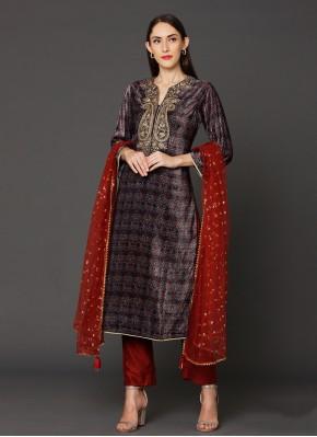 Multi Colour Reception Velvet Designer Salwar Kameez