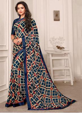 Multi Colour Satin Printed Saree