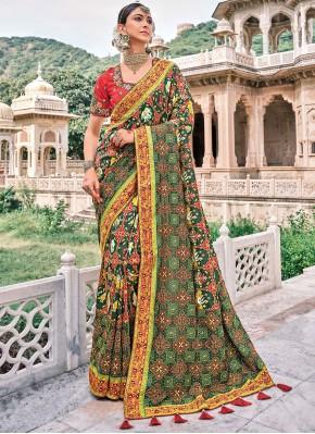 Multi Colour Silk Contemporary Saree
