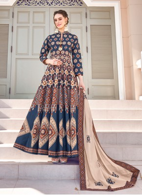 Multi Colour Silk Embroidered Readymade Gown