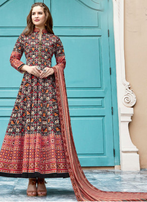 Multi Colour Silk Handwork Trendy Anarkali Salwar Kameez