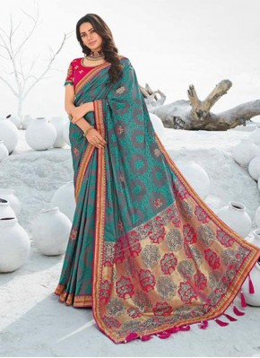 Multi Colour Silk Lace Designer Saree