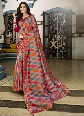 Multi Colour Silk Party Traditional Saree