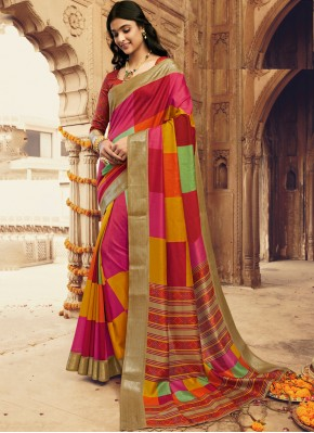 Multi Colour Silk Party Traditional Saree