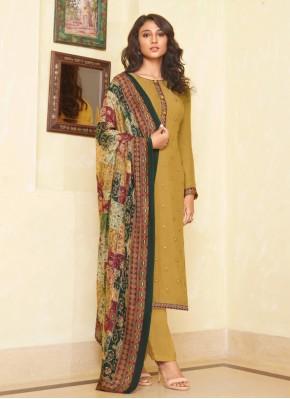 Muslin Embroidered Mustard Designer Straight Salwar Suit