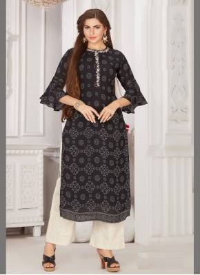 Muslin Embroidered Party Wear Kurti in Black