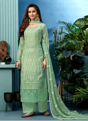 Muslin Embroidered Sea Green Designer Palazzo Suit
