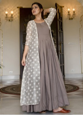 Muslin Grey Party Wear Kurti