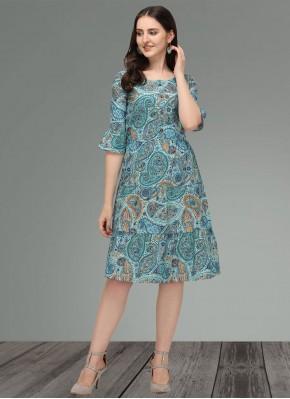 Muslin Printed Blue Designer Kurti
