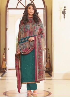 Muslin Rama Embroidered Designer Straight Suit