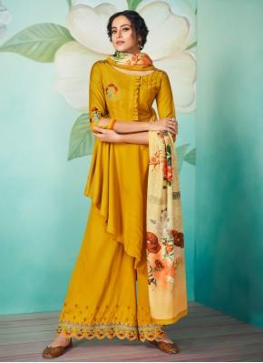 Muslin Yellow Readymade Designer Salwar Suit