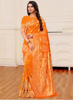 Mustard and Orange Banarasi Silk Festival Half N Half Trendy Saree