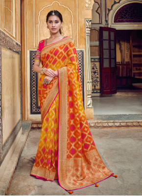Mustard and Orange Silk All Over Woven Saree with Pearls Work Border and Pallu