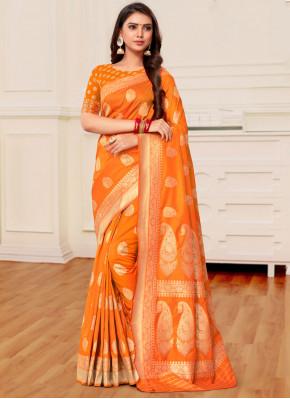 Mustard and Orange Weaving Half N Half Trendy Saree