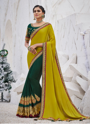 Mustard and Teal Color Traditional Saree
