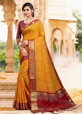 Mustard Art Silk Printed Classic Saree