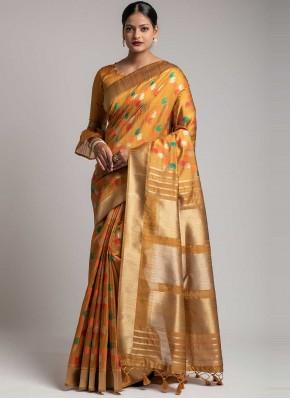 Mustard Ceremonial Tussar Silk Designer Traditional Saree