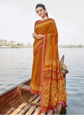 Mustard Chanderi Printed Saree