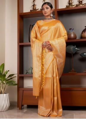 Mustard Color Designer Traditional Saree