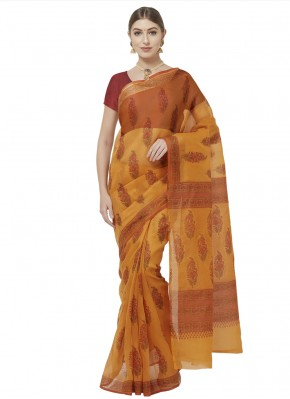 Mustard Color Printed Saree