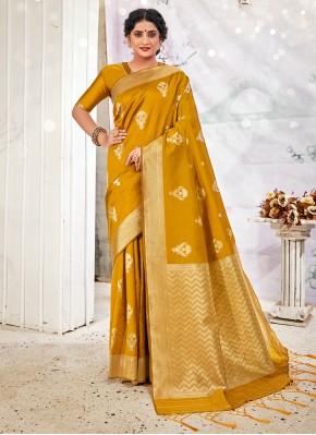 Mustard Color Traditional Designer Saree